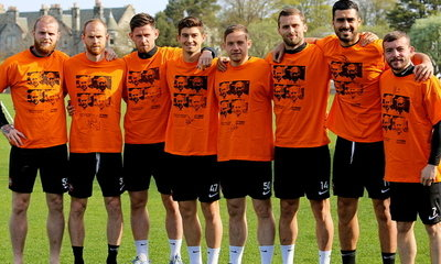 Our Players modelling the Jim McLean fundraising T shirts