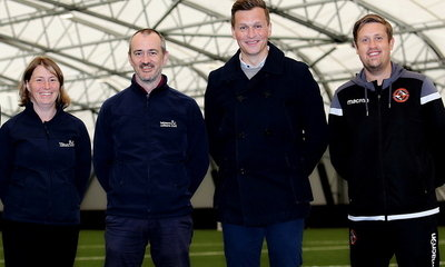 Pictured are (left to right) Allison Reid (Regional Performance Centre Manager for Leisure & Culture Dundee) Ross McGuire (Performance & Strategy Manager for Leisure & Culture Dundee), Andy Goldie (DUFC Academy Director) and Michael McPake (DUFC Head of A