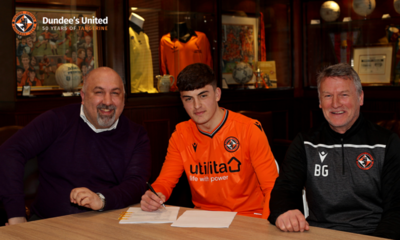 Lewis Neilson is pictured with Sporting Director Tony Asghar (left) and Head of Player Pathway and Loans Brian Grant (right)